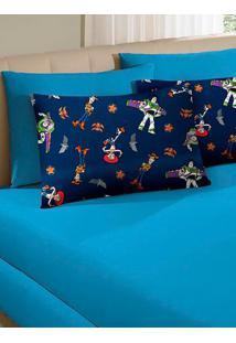 Jogo De Lençol Solteiro Simples Toy Story Azul