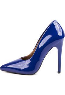 Scarpin Factor Salto Alto - Verniz Azul Klein - Azul Marinho - Feminino - Dafiti