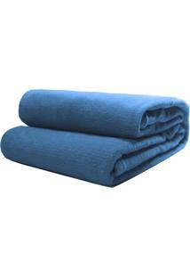 Cobertor Casal Camesa Microfibra Liso Azul Royal