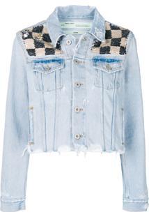 Off-White Jaqueta Jeans Com Paetês - Azul