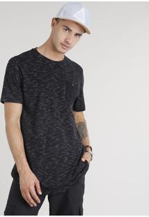 Camiseta Masculina Mescla Com Bolso Manga Curta Gola Careca Preta