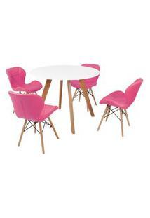Mesa Inês 100Cm Branca + 4 Cadeiras Eiffel Slim - Rosa