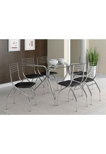 Conjunto De Mesa Lausanne Com 6 Cadeiras Lugano Preto