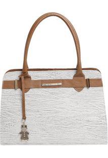 Bolsa Em Couro Croco Com Tira & Bag Charm- Bege Claro & Di Marlys