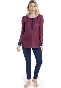Pijama Feminino De Inverno Com Polo Xadrez Vermelho