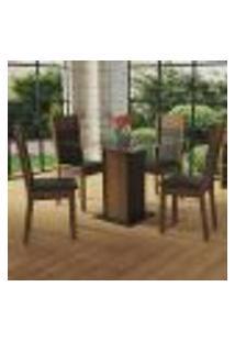 Conjunto Sala De Jantar Madesa Miami Mesa Tampo De Vidro Com 4 Cadeiras - Rustic/Preto