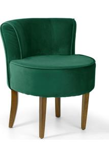Poltrona Decorativa Fixa Base Madeira Olivia Veludo Verde B-303 - Lyam Decor