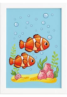 Quadro Infantil Peixes Palhaço Moldura Branca 22X32Cm