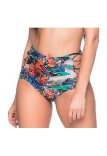 Calcinha Hot Pants Tiras Cruzadas Noronha Floral Trends La Playa 2019