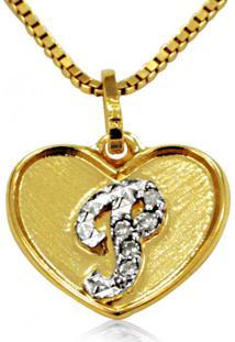 Pingente Em Ouro 18K Coração Com Letra P Com 5 Diamantes - Pg20109