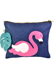 Clutch Mumagi Do Flamingo Jeans Azul