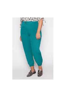 Calça Almaria Plus Size Kayla Valongo Viscose Verde