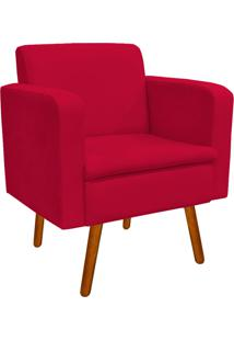 Poltrona Decorativa Emília Suede Vermelho - D'Rossi