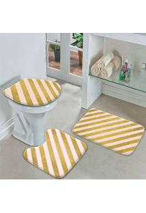 Jogo Tapetes Para Banheiro Listras Gold -