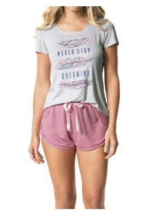 Pijama Curto Risca De Giz Feminino Malwee (1000037309) Viscose