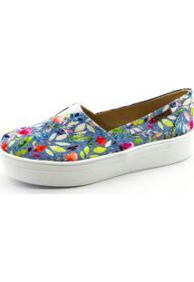 ... Tênis Flatform Quality Shoes 003 Jeans Floral Sola Branca 12dbd8b29f64d
