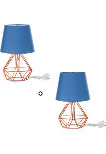 Kit 2 Abajur Diamante Dome Azul Com Aramado Cobre - Tricae