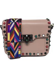 Bolsa Casual Transversal Alça Colorida Sys Fashion 830302 Rosa