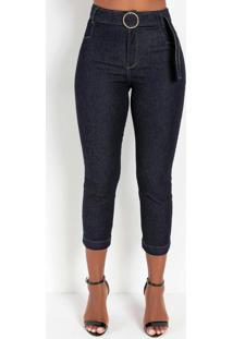 Calça Jeans Escuro Reta Com Fivela Sawary