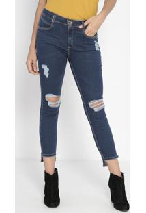 Jeans Diana Destroyed - Azul Escuro- Lança Perfumelança Perfume