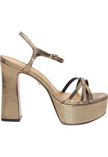 Sandália Feminina Meia Pata Glam Gold - Dourado