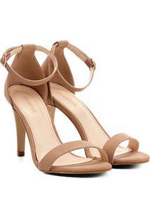 Sandália Shoestock Salto Fino Nobuck Feminina - Feminino-Nude