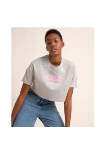 "Camiseta Cropped De Moletom Manga Curta Decote Redondo ""Disconnect"" Cinza Mescla"