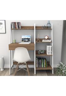 Conjunto Home Office Trend Bliv Completo Com Estante 4 Prateleiras E Mesa Com Gaveta - Castanho E Branco
