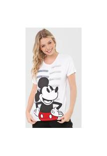 Camiseta Cativa Disney Mickey & Minnie Text Branca