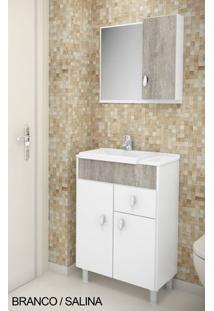 Gabinete Para Banheiro Kit Tuon - Balcão + Espelheira + Marmorite - Branco Com Salina