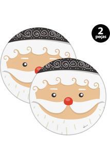 Sousplat Mdecore Natal Papai Noel 32X32Cm Branco 2Pçs