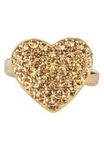 Anel Armazem Rr Bijoux Regulável Coração Dourado