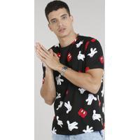 6eed62fb396b2 Camiseta Masculina Estampada Mickey Manga Curta Gola Careca Preta