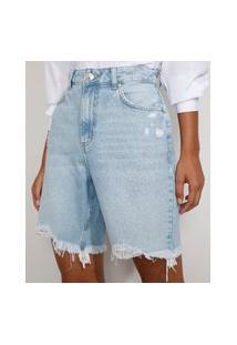 Bermuda Jeans Feminina Cintura Alta Destroyed Marmorizada Azul Claro