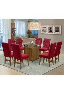 Mesa Para Sala De Jantar Saint Louis Com 8 Cadeiras – Dobuê Movelaria - Mell / Vinho