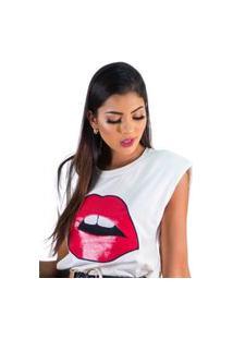 Camiseta Feminino Estampa De Boca Curta Gola Redondo Branca