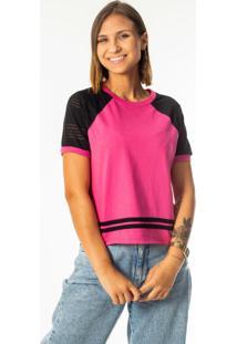Blusa Com Punho E Detalhe De Tira Rosa
