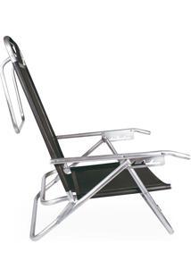 Cadeira Reclinável Alumínio 5 Posições Preta Mor