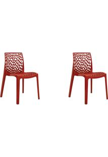 Kit 02 Cadeiras Gruv Vermelha Rivatti Móveis