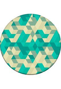 Tapete Love Decor Redondo Wevans Abstrato Verde 94Cm