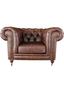 Poltrona Decorativa Sala De Estar Chesterfield Duo Couro Tabaco - Gran Belo