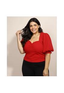 Blusa Feminina Plus Size Mindset Manga Bufante Decote Coração Vermelha