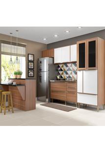 Cozinha Compacta 12 Portas 4 Gavetas 5463 Nogueira/Branco - Multimóveis