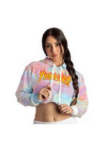 Cropped Blusa Moletom Thrasher Magazine Logo Flame Tie Dye