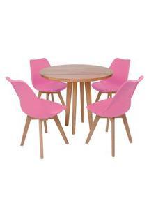 Conjunto Mesa De Jantar Em Madeira 90Cm Com Base Vértice + 4 Cadeiras Leda - Rosa
