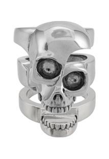 Alexander Mcqueen Divided Skull Ring - Metálico