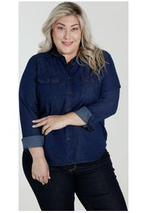 86906adce Marisa. Camisa Feminina Azul Plus Size Jeans Botões Marisa