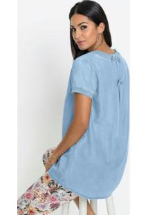 Blusa Jeans Com Laços Nas Costas Azul Claro