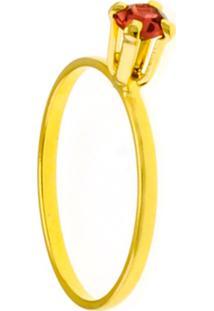 Anel Horus Import Solitário Strass Rosa Banhado Ouro Amarelo 18K 1010055