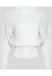 Suéter Feminino Em Tricô Leve Manga Bufante Decote Redondo Off White